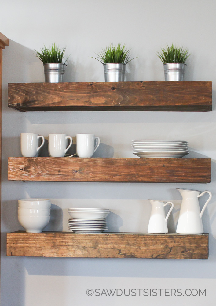 Build a set of DIY floating shelves for any room in your home. Step by step tutorial and FREE PRINTABLE PLANS!!!