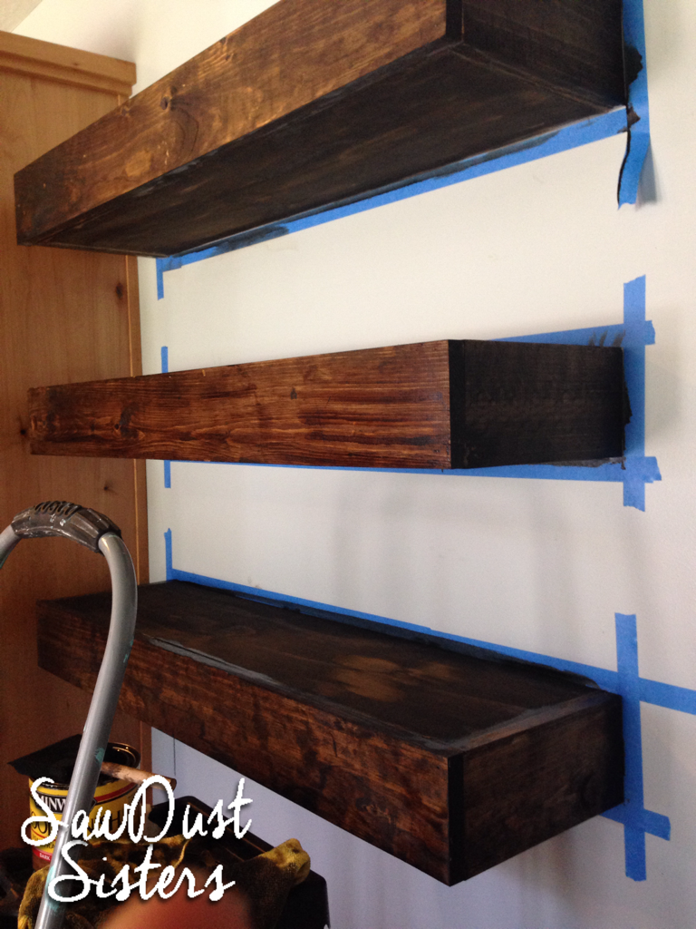 DIY Floating Shelves Tutorial at Sawdustsisters.com