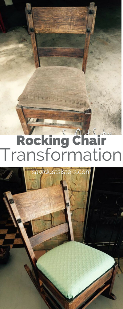 An old rocking chair gets a makeover instead of getting dumped! Check out the transformationto the wood and the simple upholstery