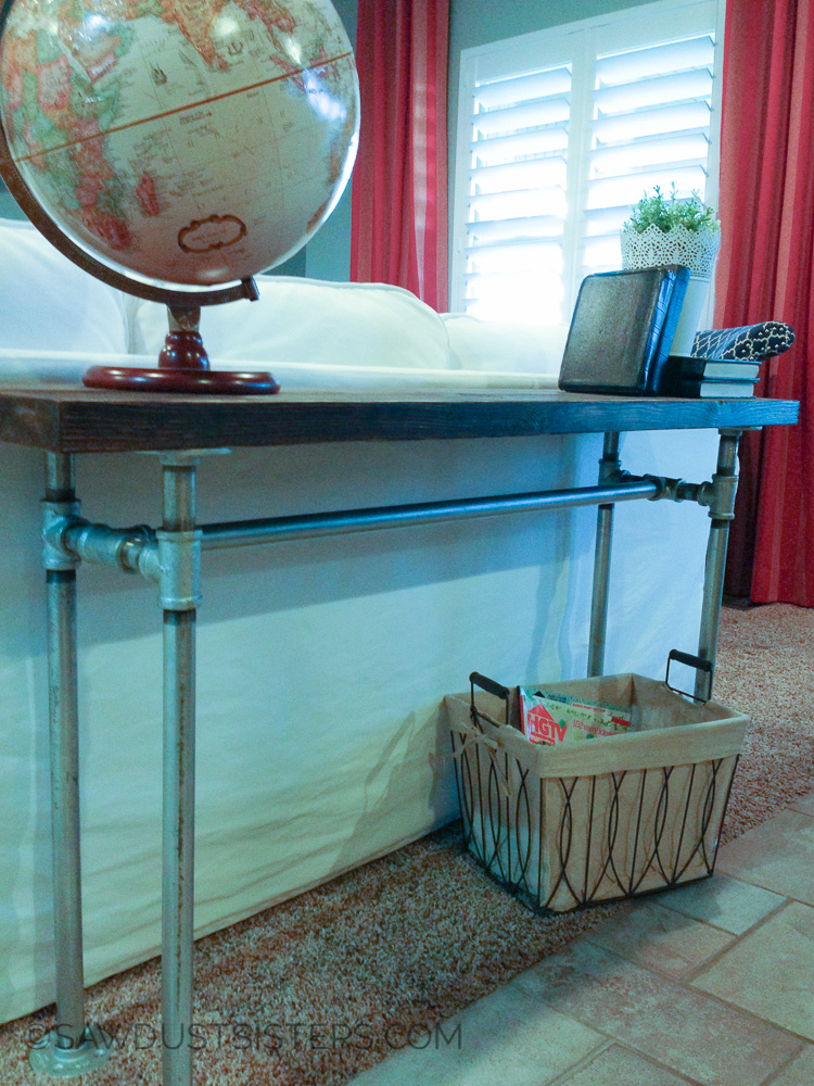 Industrial Farmhouse DIY Console Table with Pipe Frame. Build your OWN!!