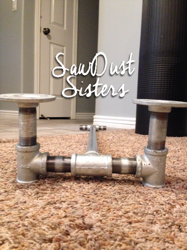 DIY Console/Sofa Table with Pipe Frame. No tools!! See tutorial at Sawdustsisters.com