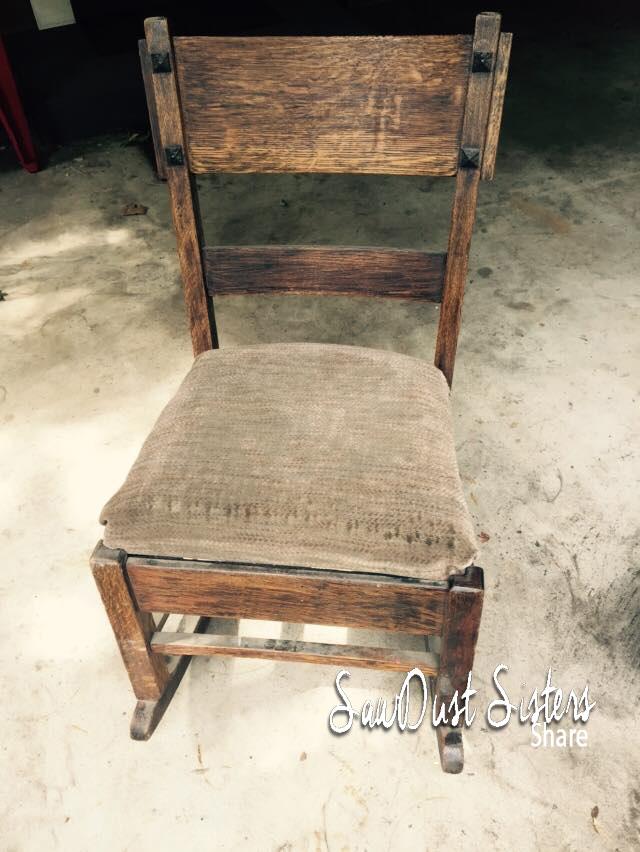 Make an old chair pretty again! Reupholstery tutorial at Sawdustsisters.com
