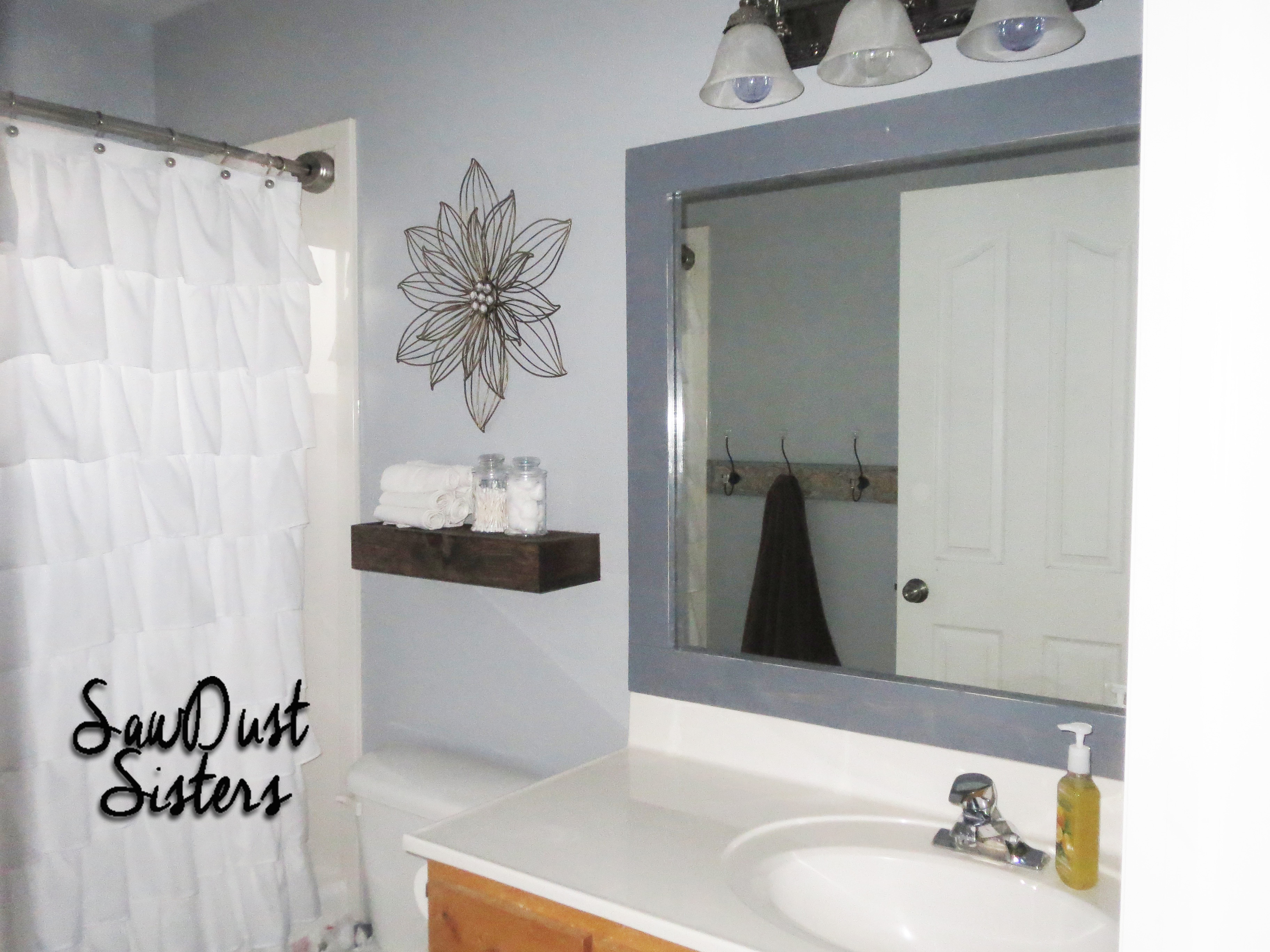 DIY Bathroom Mirror Frame No Mitering Use Wood Glue And A Staple Gun