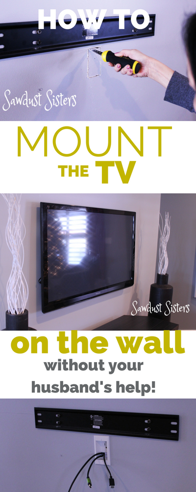 Using an easy ton install kit you CAN mount the TV on the wall all by your -girly- self!!