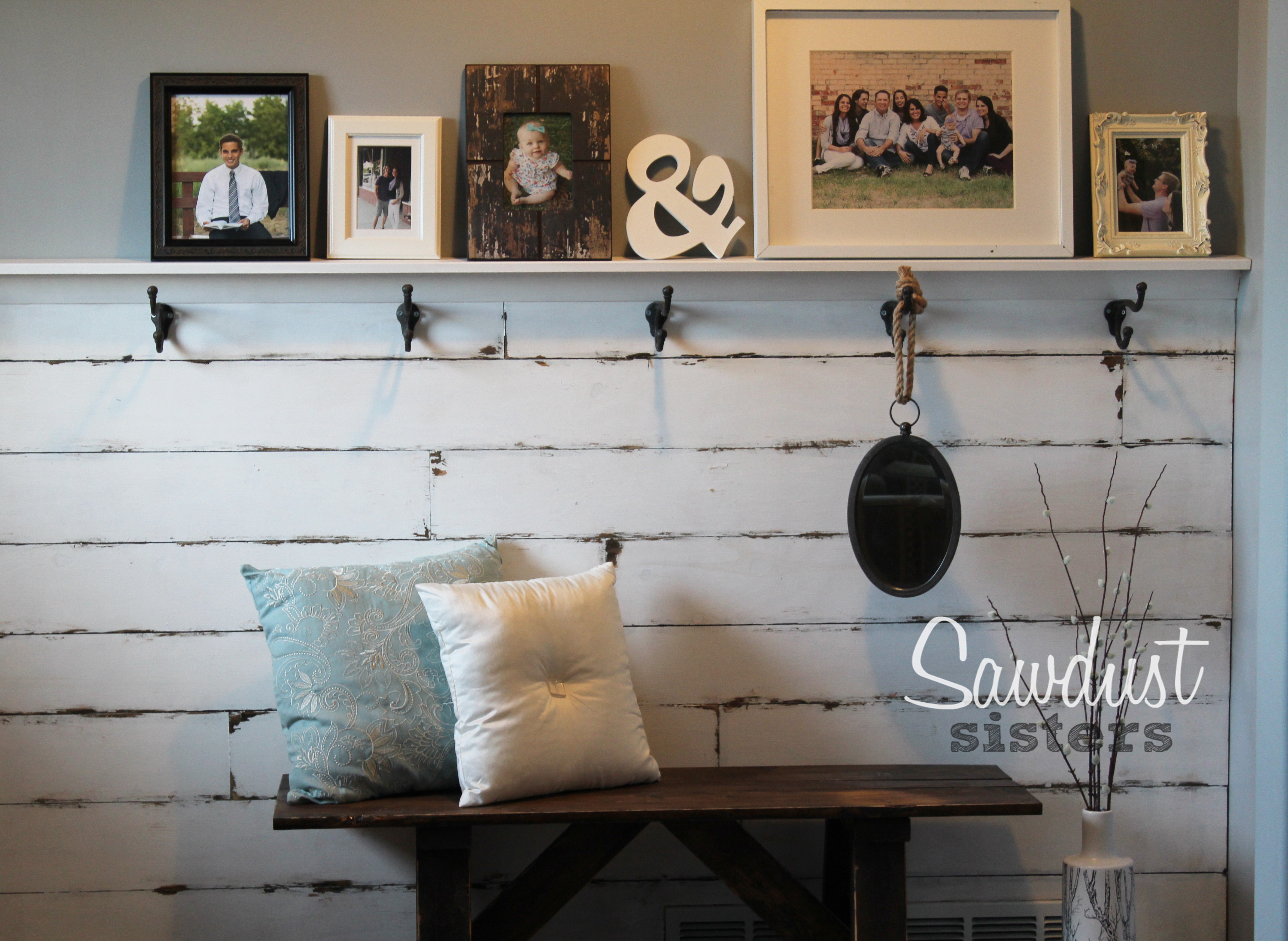 DIY Entry Way Plank Wall Find The Tutorial At Sawdustsisters