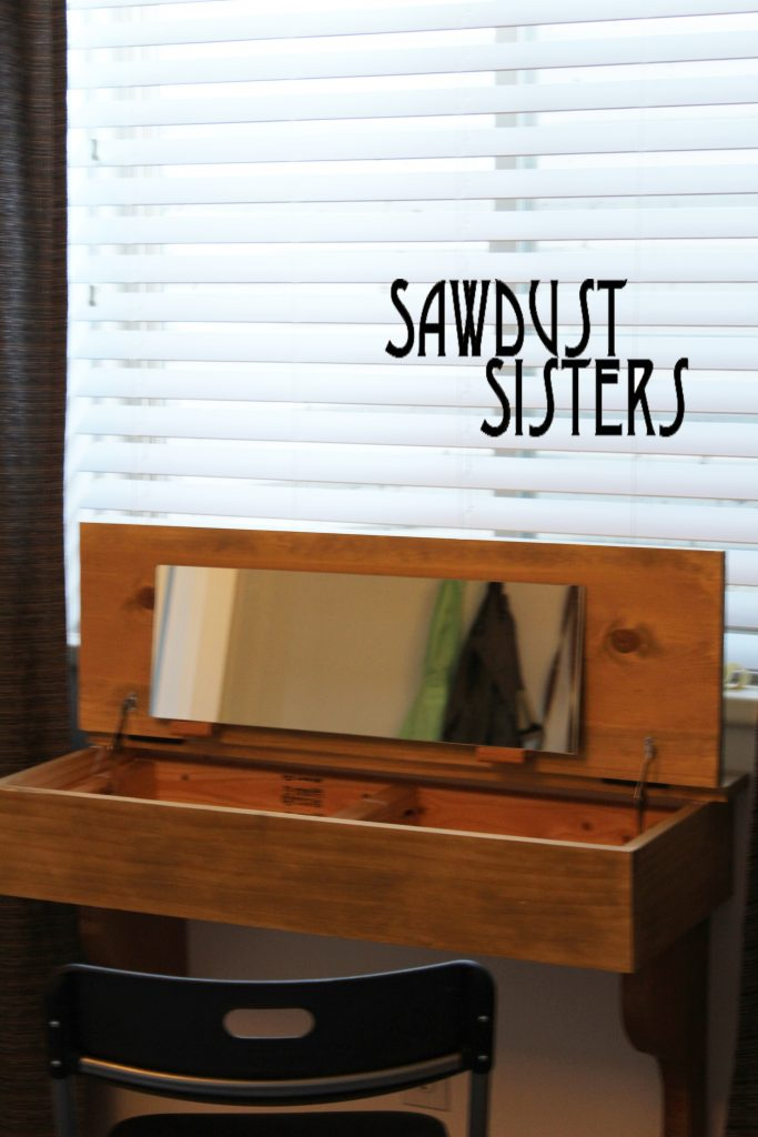 Floating Desk/Vanity Tutorial. Free template for corbels. Sawdustsisters.com
