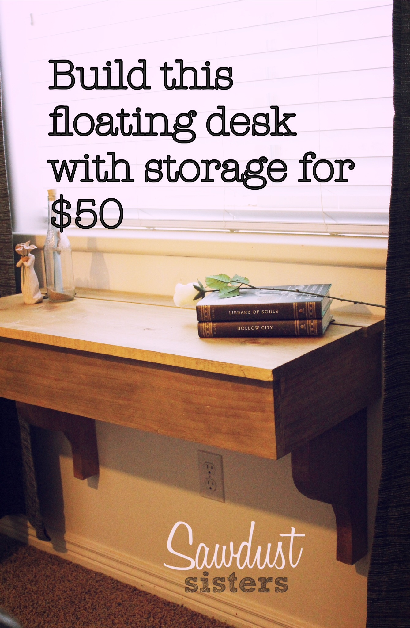 Diy Floating Desk Vanity With Storage Sawdust Sisters