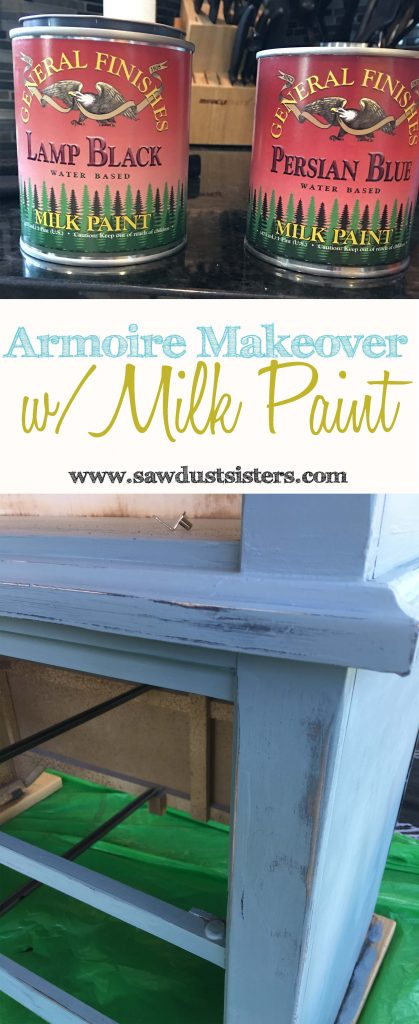 Armoire Makeover with General Finishes Milk Paint. An honest (non paid) Review of this brand of milk paint is included!