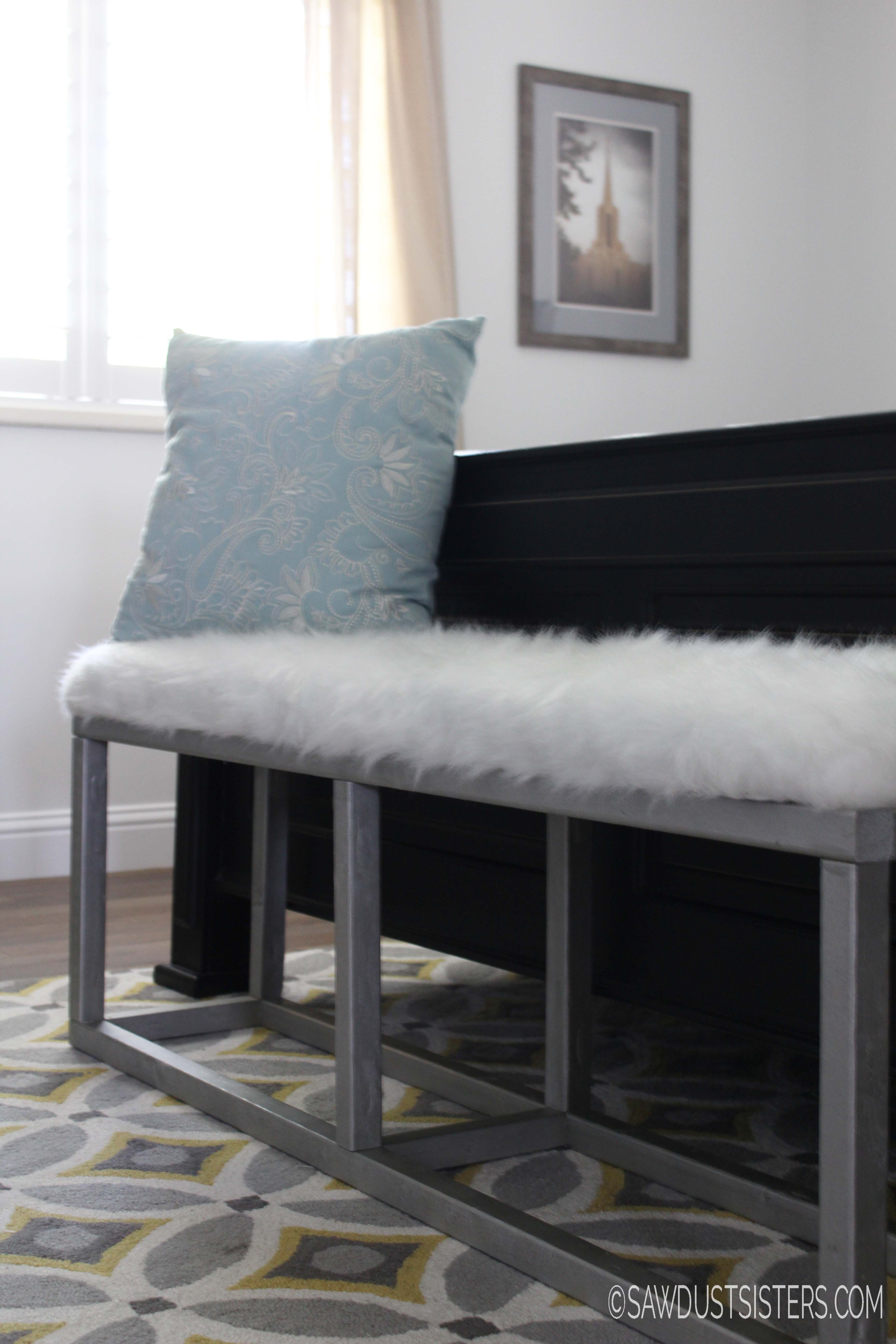 Diy Upholstered Bench With Faux Metal Frame Sawdust Sisters