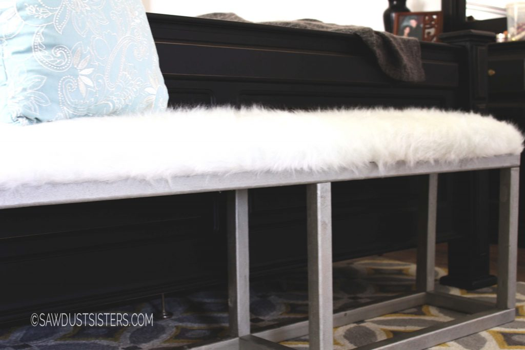 Upholstered Bench with Faux Metal Frame_2
