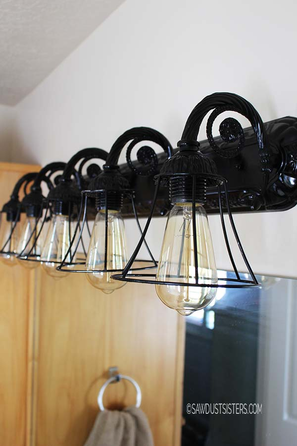 Bathroom Light Fixture Makeover - Sawdust Sisters