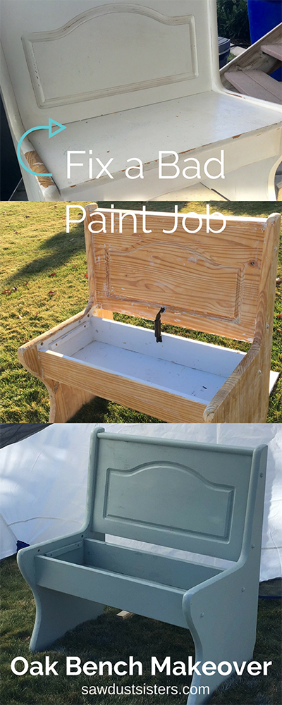 Oops! A bad paint job can be fixed! Check out this Oak Bench Makeover. If I can do it, SO CAN YOU!