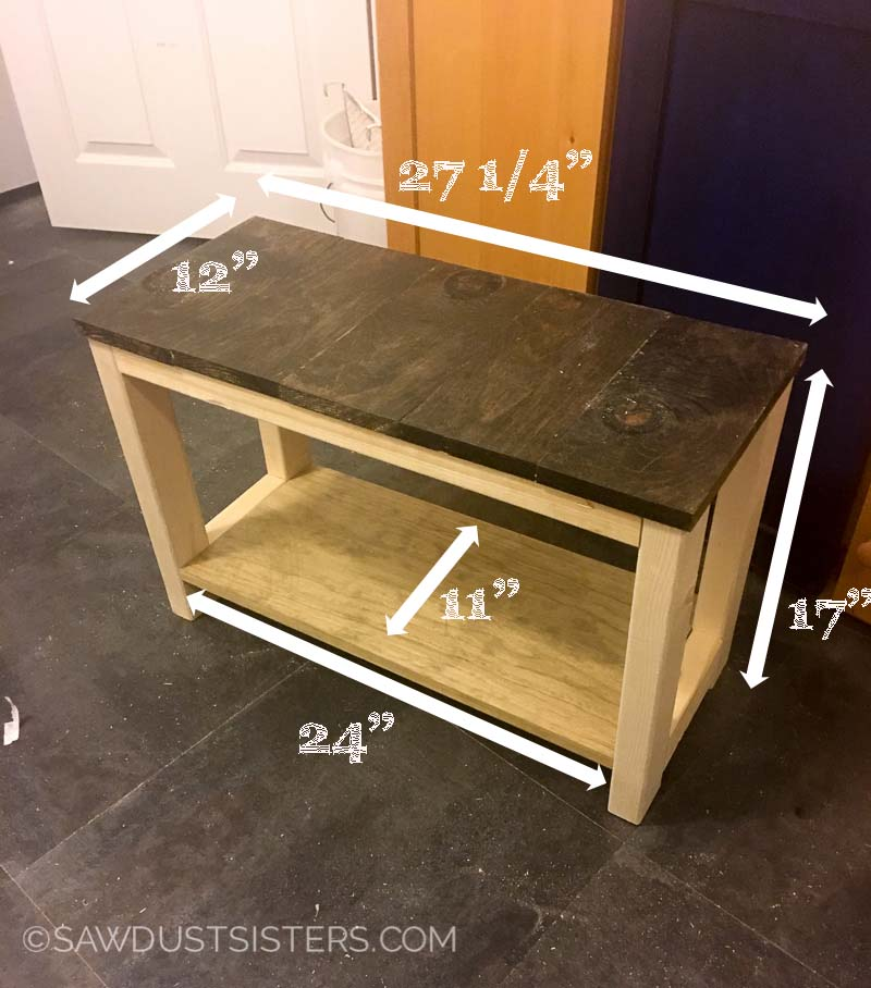 Diy mudroom bench from scrap wood sawdust sisters for Mudroom bench depth