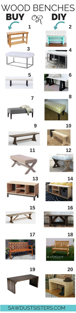 Beautiful Wood Benches you can BUY or DIY!