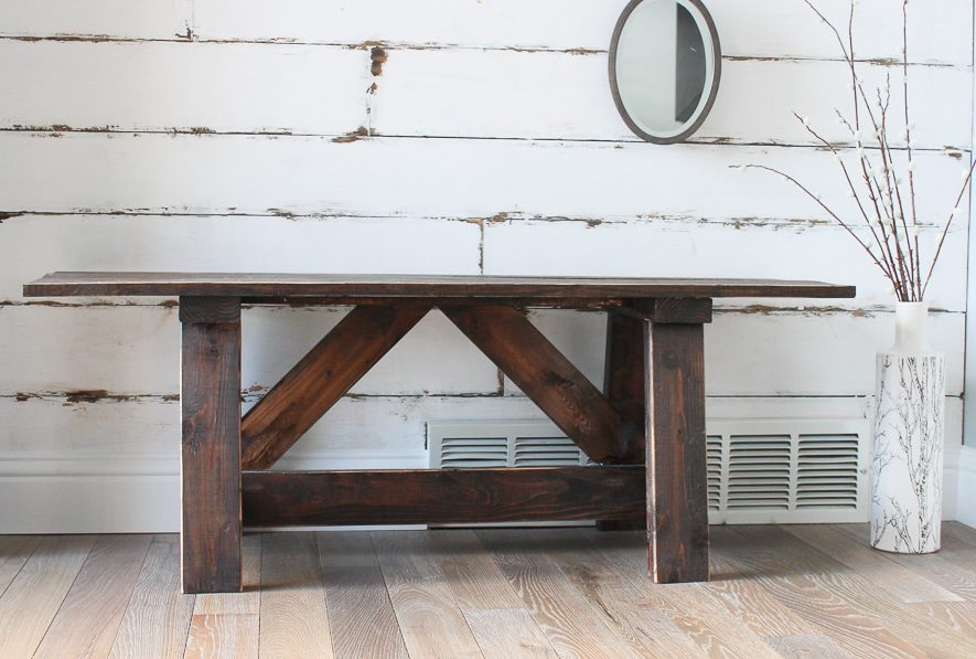 DIY Entry Way Bench and Faux ShipLap wall