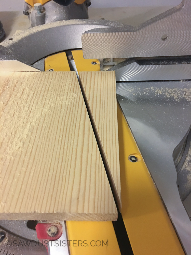 Miter cut for the wall key holder. Super easy!