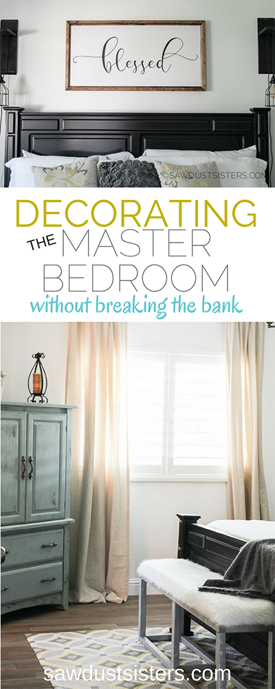 This room is full of ideas for easy DIY's and bargain accessories to make your Master Bedroom a stylish room on a small BUDGET!