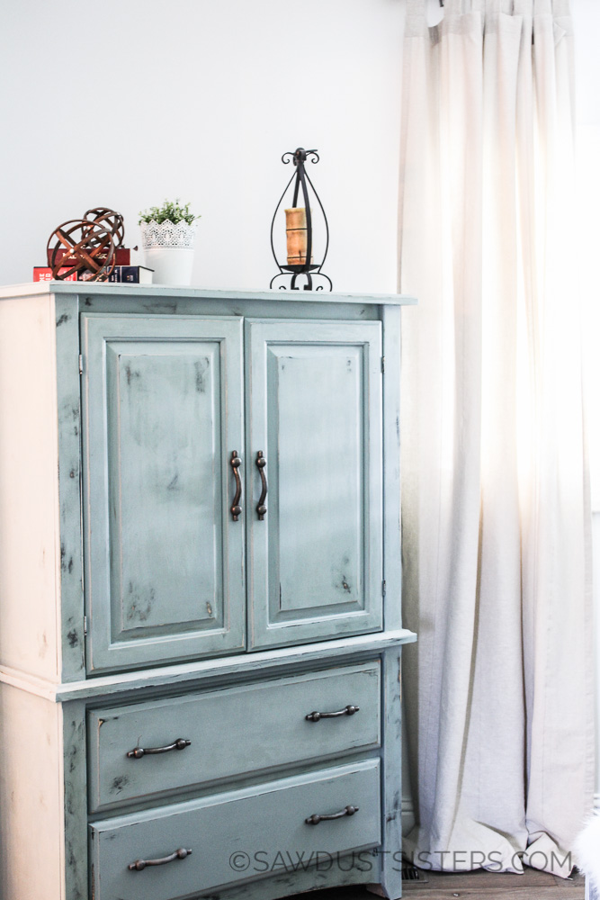 Master Bedroom Decor on the CHEAP! Armoire renovation and IKEA curtains