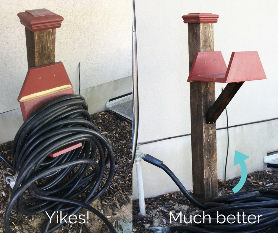 DIY Garden Hose Holder. Making sure t's strong enough for heavier hoses!