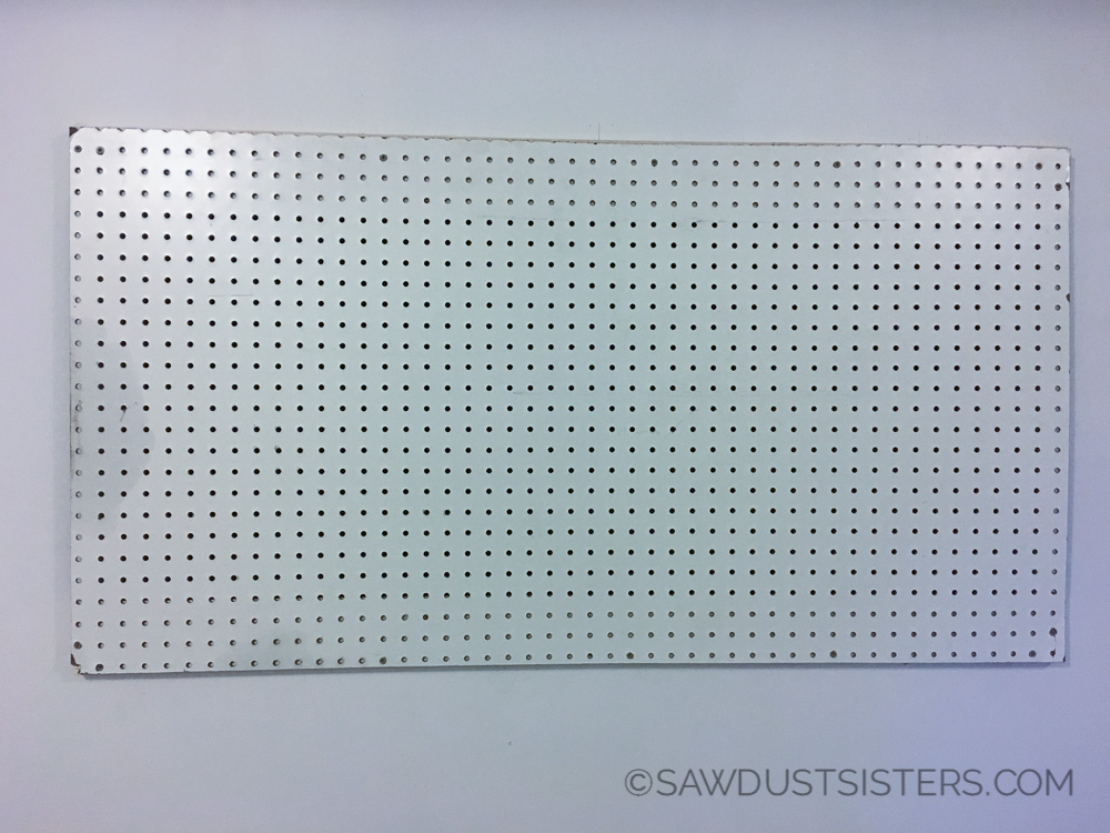 Easy way to hang pegboard. Perfect for shop or craft room.
