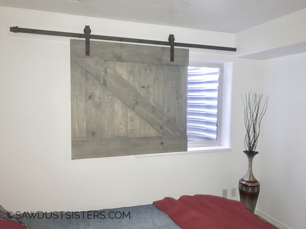 Diy barn door style window covering sawdust sisters build a barn door window slider this is so cool and it is not very eventshaper
