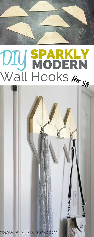 Stylish Modern Wall Hooks. Build them for $8!!