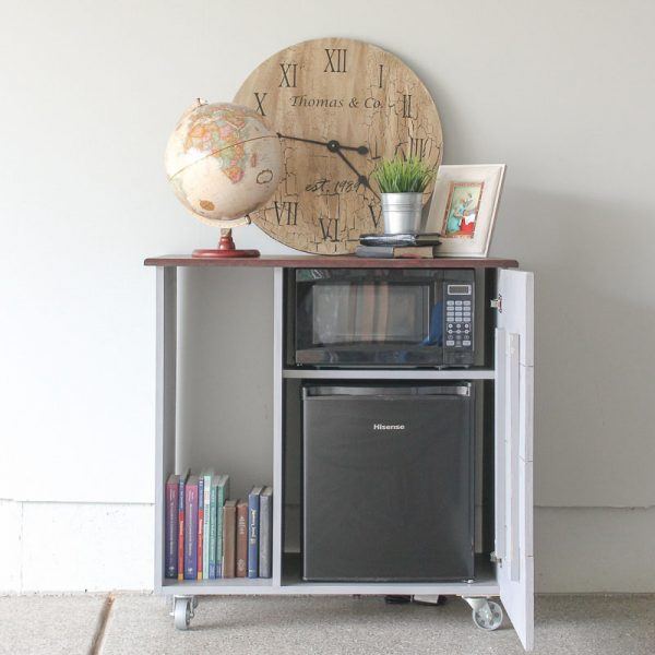 DIY Mini Refrigerator Storage Cabinet {Free Plans}