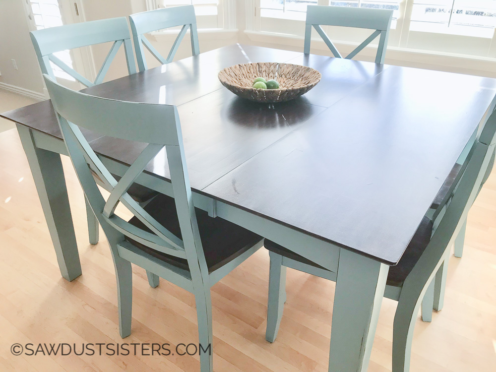 My wood table has so many dings! But after seeing how beautiful this one turned out I am going to try and refinish it! LOVE, LOVE, LOVE this dining table makeover.