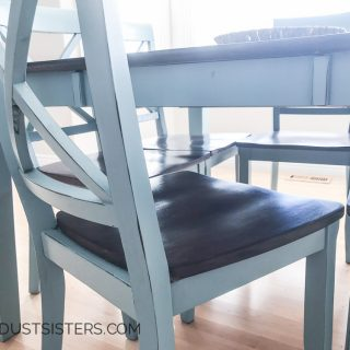 Dining Table Makeover using stain, paint and wax! I LOVE the two-tone look!