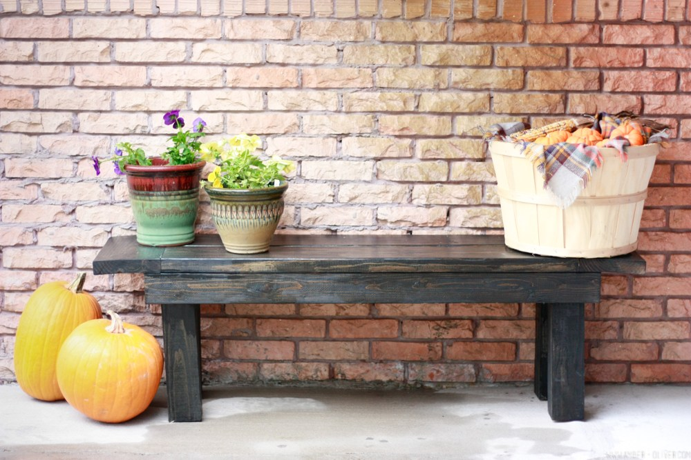 Build this beautiful porch bench in no time! I love the rustic farmhouse look!