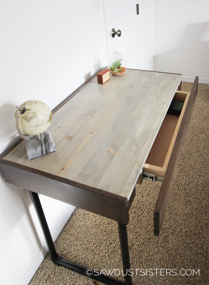 Build A Small Computer Desk With Pipe Legs Free Plans Sawdust Sisters