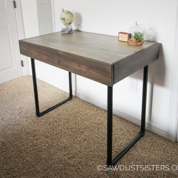 Build a Small Computer Desk with Pipe Legs {FREE PLANS}