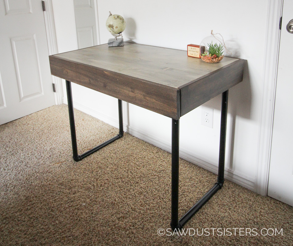 Build A Small Computer Desk With Pipe Legs And Drawer Modern Clean