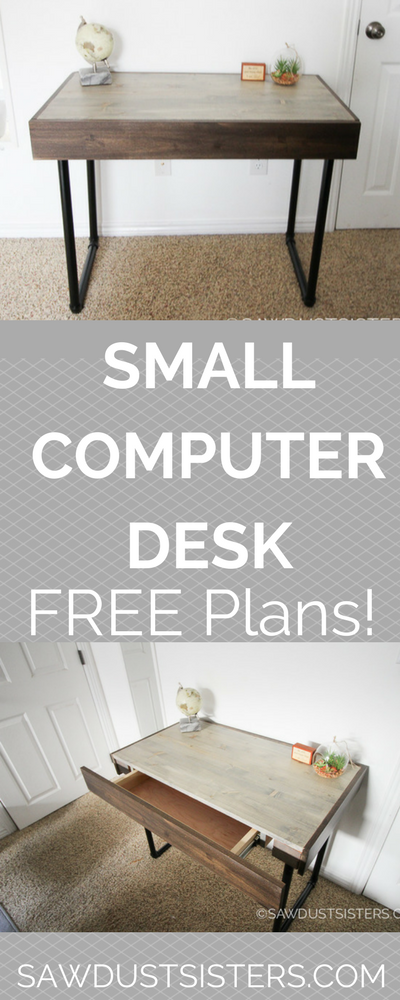Build a small computer desk with a hidden drawer and pipe legs. Easy beginner build and FREE PLANS!