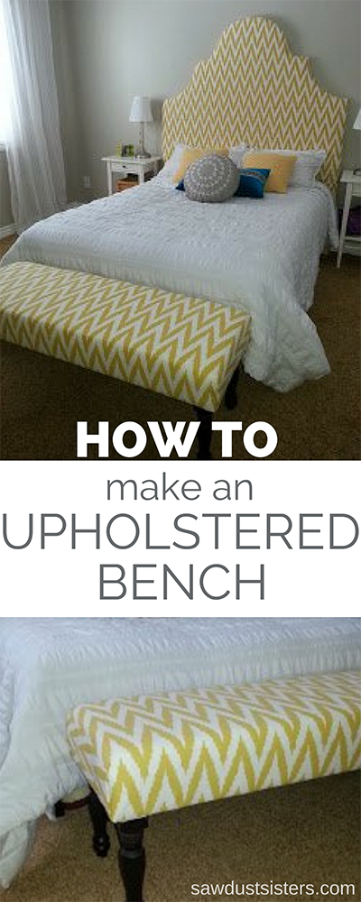 How to make an upholstered bench. Step by step tutorial on building the box and upholstering. Buy the ready-made wooden legs and you're set!
