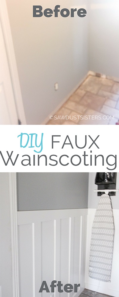 If you are in love with wainscoting but can't afford the cost of wainscoting panels, this post is for you. Using budget-friendly materials can create a look you'll love until you're ready for the real thing. This faux wainscoting wall gave this laundry room a much needed facelift. If you like it, click for step by step instructions on how to create a similar look in your home.