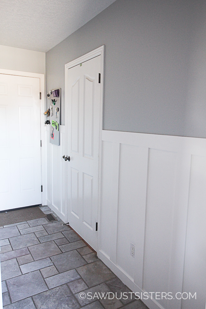 Faux wainscoting panels. Why pay so much when you can create the look with paint!