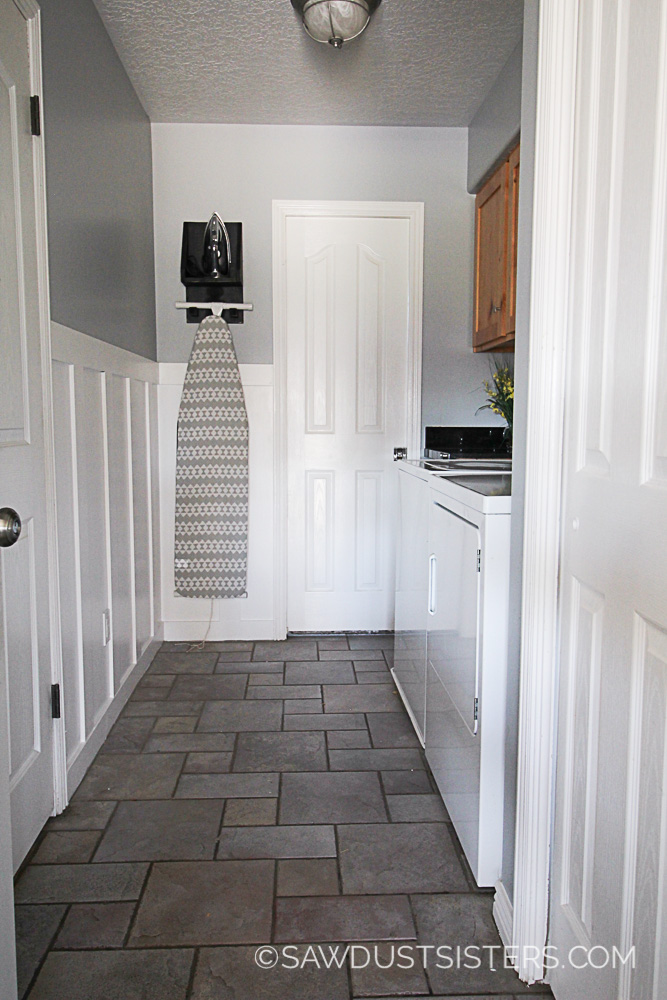 Faux Wainscoting in the Laundry Room. Love this!