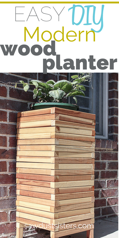 This beautiful modern wood planter is a plant stand/ planter combo. Perfect piece to display your favorite annuals, flower baskets or decorative grasses. Whether indoors or out, it is a conversation piece that is sure to make a statement! Build it with small and sturdy 2x2 lumber.