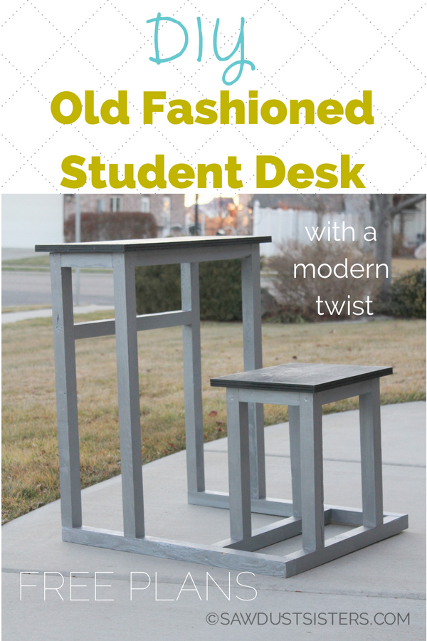 "This old fashioned student desk  gives a modern twist to the old student desk design. Its compact, one-piece design adds functionality and style to any space. Constructed out of 2""x 2"" lumber and plywood, it is sturdy, yet light weight. Perfect for small spaces! This desk was initially built for a middle school's theatre set of Thoroughly Modern Millie. We built 16 of them!"