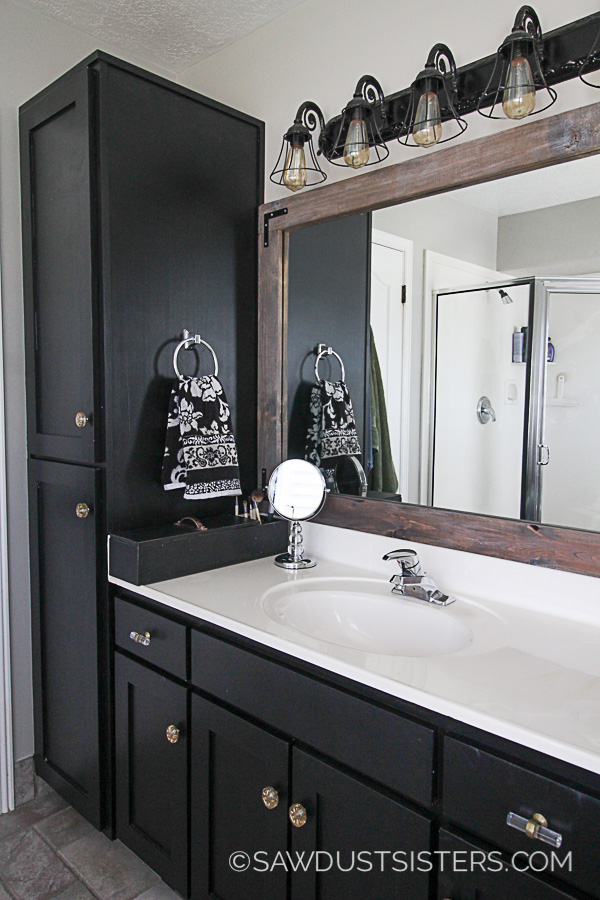 Master Bath Update Sleek Black Vanity Makeover Sawdust