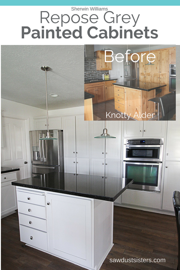 Migrating from knotty alder to grey kitchen cabinets is a budget-friendly way to give an outdated kitchen a modern look. Whether you do it yourself or hire it out, it is a job that requires a bit of research, motivation, and attention to detail. It took me three years to pull the trigger on this 90's -very- knotty kitchen. But now that it's done, I am thrilled with the results and glad I took the time to think it through.