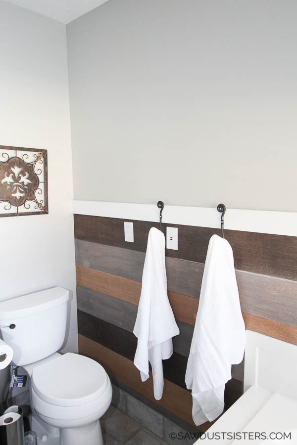 Diy Towel Rack With Homemade Peel And Stick Planks Sawdust Sisters