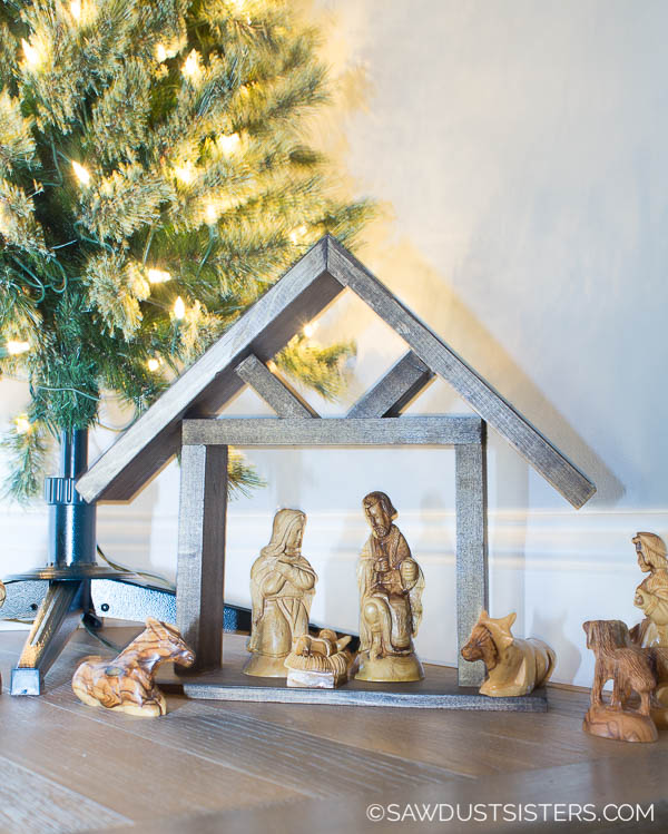 If a Christmas nativity scene is part of your holiday decor, this DIY wooden manger is a project that is easy, quick, and will add a rustic touch to your existing nativity.  Best of all, you can build it with wood scraps!