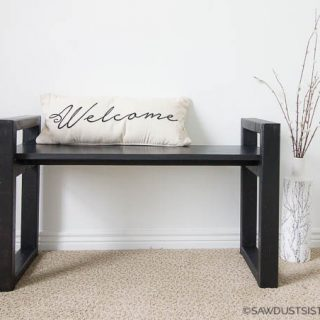 This DIY small wooden bench with a modern, minimalist, multi-functional design is perfect for any room! Customize the length to your liking by simply cutting a longer piece for the seat. Click for the step-by-step tutorial and, as always, FREE PLANS!