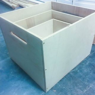 """DIY nesting apple boxes are a multi-purpose variation of the traditional apple boxes. They're deeper than the norm and made from sturdy 1/2"""" birch plywood. They're easy to build, light weight, stackable, and a breeze to store."""