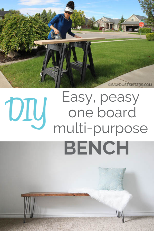 Replace a couple of dining room chairs with this easy DIY functional bench that can potentially double your sitting space. Or use it at the foot of your bed! Or how about the entryway? This easy piece will add extra seating anywhere in your house. Such an easy project. Click for the tutorial, links for the sturdiest hairpin legs and tips on the finish! #diningbench #hairpinbench #hairpinlegs #bedroombench #entrywaybench