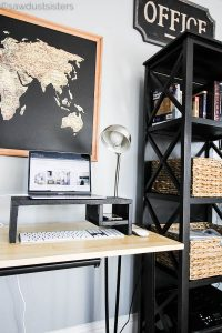 Build a quick laptop riser for desktop from scrap wood. This piece super easy to build, and requires only 2 tools! And having a laptop stand riser complete with cellphone and keyboard storage is a bonus!